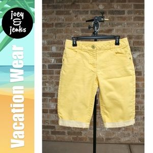 Rafaella Yellow Jean Shorts with Cuff Size 8
